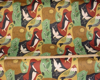 2-1/4 yards Brunschwig et Fils Animaux Deco - Luxury Penguin Bird Fish Lion Art Deco Cotton Print Drapery Upholstery Fabric - Free Shipping