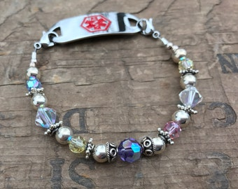 Medical Bracelet Pastel Crystals & Sterling Silver- Includes FREE Medical ID tag with Engraving