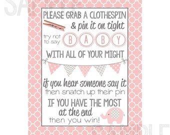 Pink And Gray Elephant Baby Shower Clothespin Game