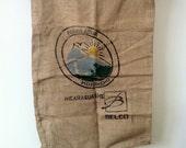 Rare coffee Burlap Sack, Vintage Textile, Nicaragua