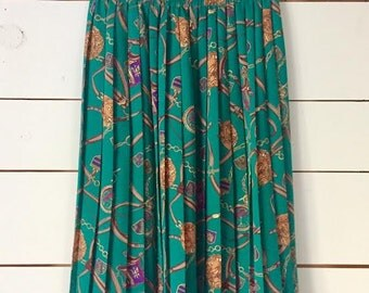 Vintage 80s/90s Green Pleated Skirt Mid-calf