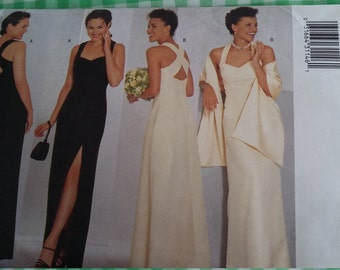 UNCUT and FF Pattern Pieces Vintage Butterick 6463 Sewing Pattern Formal Dress and Stole Sizes 18-20-22