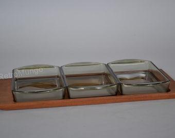 Scandinavian teak wooden tray with 3 smekd glass dishes - Mid Century Design- - 60s Teak Era