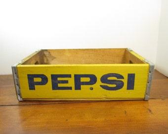 Vintage Pepsi Crate in Yellow / Pepsi Cola Wood Crate