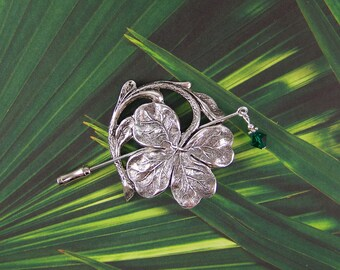 Shamrock Shawl Pin, Clover Pin, Irish Pin, Sweater Pin, Scarf Pin, Shamrock, Swarovski Stick Pin, Shawl Pin, Four Leaf Clover, Boutonniere