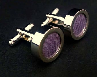Mauve purple cotton cuff links – wedding and anniversary gift for men