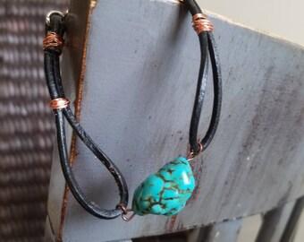 Black leather and turquoise bracelet