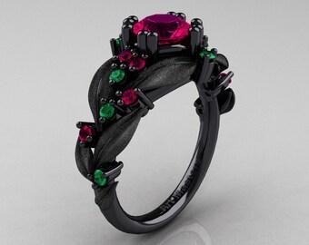 Nature Classic 14K Black Gold 1.0 Ct Rose Ruby Emerald Leaf and Vine Engagement Ring R340S-14KBGEMRR