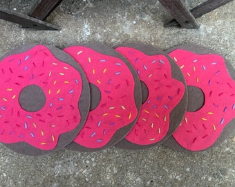 Donut Coasters, Doughnut Coasters, Felt Coasters, Circle Coasters, Drink Coaster