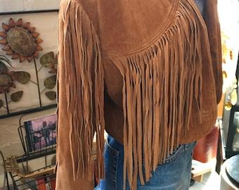 90's Fringe Leather Suede Caramel Color Jacket