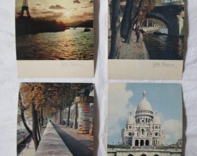 4 Albert Monier Paris Color Photographic Postcards: Eiffel Tower, Sacred Heart (ca. 1960s)