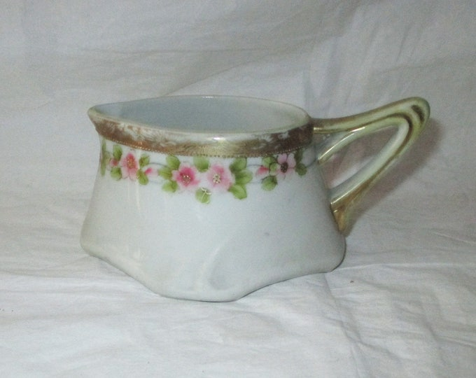 Te-Oh Nippon China Hand-Painted Creamer, Beaded Gold Trim, Pink Roses (c. 1920)