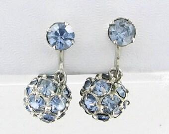 WEISS Vintage blue Rhinestone Screw Back Earrings prong set rondell ball 1950s