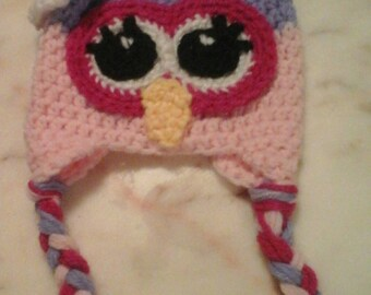 Handmade knitted owl hat, custom made owl hats, baby owl hats, children owl hats, adult owl hats, choose your colors and size, owl caps,