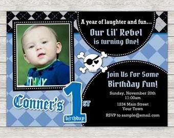 Rebel Birthday Invitation, Little Rebel Boy 1st Birthday Invite - Printable File or Printed Invitations