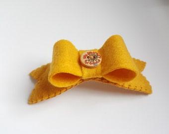 Mustard Bow Hair Clip