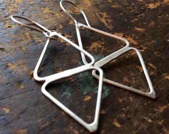 Deja-Vu • triangle earrings . Sterling Silver double triangles . Metalwork • Sterling Silver Earrings • Minimalist Sterling Silver Jewelry .
