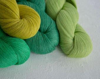 Linen yarn, Set of 4 linen skeins - green-yellow mix linen tread
