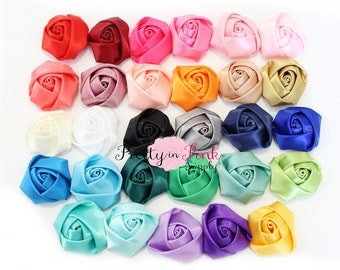 """Satin Rolled Rosettes...You Choose Quantity...Rolled Rosettes...Mini Rolled Rosettes...1.5"""" Rosettes"""