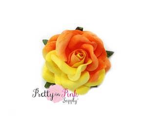 "1.5"" Yellow/Orange Premium Paper ROSE ,Wire Paper Flower, Floral Crown Flower,Paper Flowers,Headband Flowers, Headband Supply"