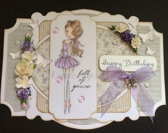 OOAK Handmade Hand Coloured Female Birthday Greetings Card
