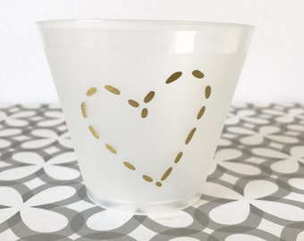 PC06 - golden heart party cup, set of 15