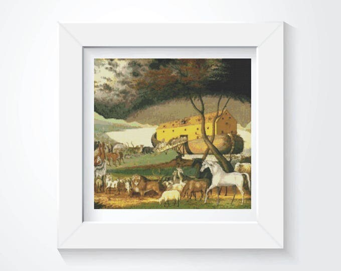 Cross Stitch Pattern PDF, Embroidery Chart, Art Cross Stitch, Noah's Ark by Edward Hicks (HICKS02)