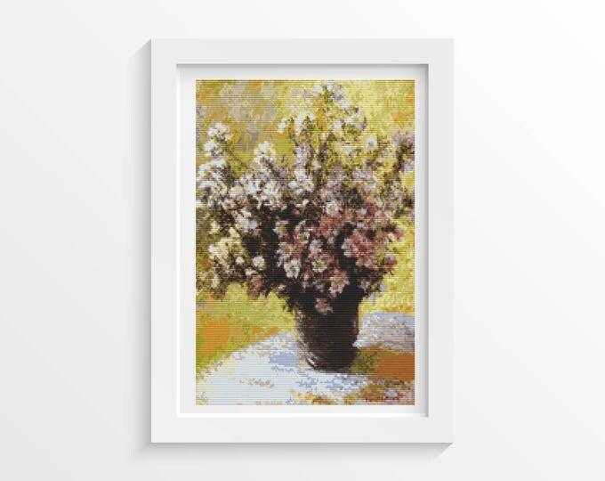 Cross Stitch Pattern PDF, Embroidery Chart, Art Cross Stitch, Floral Cross Stitch, Bouquet of Mallows by Claude Monet (MONET03)