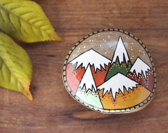 "Mountain Painted Rock, SMALL 2"" by 2.25"" Hand-Painted Stone, Painted Mountains, Hand Painted Rock"