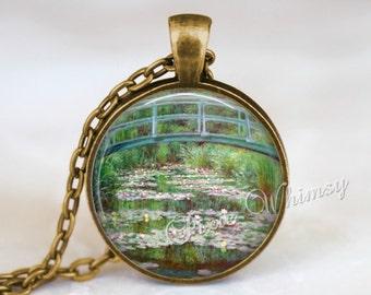 Monet Japanese Footbridge Pendant Necklace or Keychain, Monet Water Lilies, Monet Fine Art Jewelry, Water Lily Jewelry, Japanese Bridge