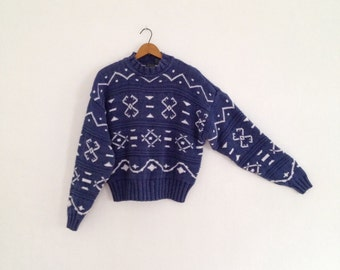 vintage cropped sweater / cotton crop top sweater / womens 90s sweater geometric