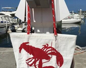 Sail Bag Red LOBSTER Large Sea bag Recycled sail cloth