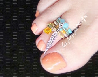 SALE | Stacking Toe Ring | Indian Summer | Feather | Blue Jade Crystals | Stretch Bead Toe Ring