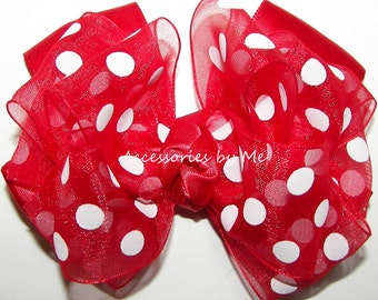 Minnie Mouse Hair Bow, Red White Polka Dot Hairbow, Girls Pink Barrette, Toddler Alligator Clip, Baby Clips, Pageant Hairbows, Dance Hairbow