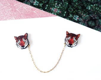 Tiger Collar Pins - Animal Collar Clips - Tiger Gift - Tropical Jewellery - Sweater Clip - Tiger Print - Tiger Jewellery - Tiger Brooch