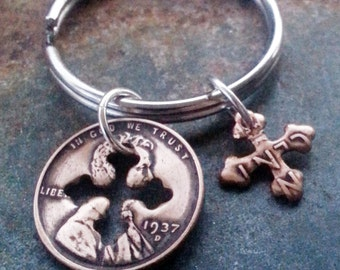 80th Birthday 1937 Penny Cross Key Chain  80th Birthday Gift Mother's Day 80th Anniversary Coin Jewelry made from a 1937 Penny