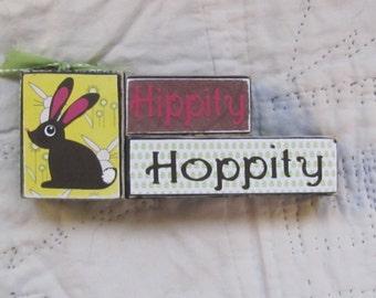 Easter blocks set of 3--Hippity Hoppity