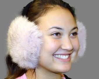 Glacier Wear Blue Fox Fur Ear Muffs Dyed Pastel Pink