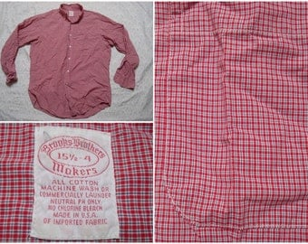 Vintage Retro Men's Brooks Brothers Shirt Plaid Red Buttonup Long Sleeve Shirt Large 15.5 Made in USA