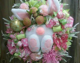 Easter Bunny Wreath, Bunny booty wreath, Easter wreath, Easter bunny decor,Easter decor, Easter mesh wreath, Spring wreath, Bunny Swag