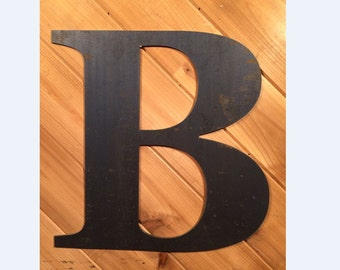 "Large 18"" Raw or Painted Metal Letter B Rustic Metal Sign - Large Metal Letter - Metal Wall Art - Farmhouse sign - Farmhouse Decor"