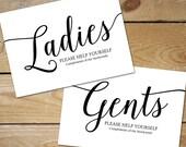 Printable Bathroom Signs Wedding, Bathroom Basket Sign Printable // Ladies Bathroom Sign, Black and White Wedding Bathroom Signs