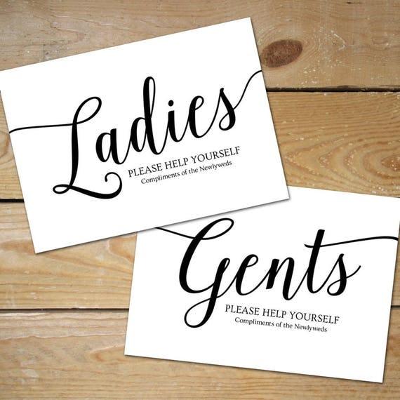 Printable Bathroom Signs Wedding Basket Sign Ladies Black And White