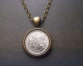 British Sixpence Coin Necklace -  British SixPence Coin Pendant in Pendant Tray- 1967 British Six Pence Coin Necklace