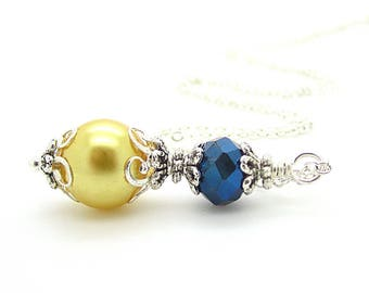 Navy Blue and Yellow Bridesmaid Jewellery Yellow and Navy Wedding Jewellery Bridesmaid Gift Idea Pearl Bridal Sets Bridal Party Gifts