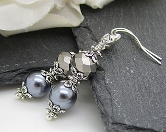 Mercury Bridesmaid Earrings, Grey Pearl Wedding Sets, Pearl Drop Earrings, Grey Silver Wedding, Crystal Dangles, Bridal Party Gifts