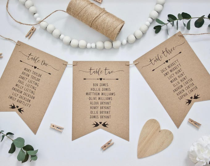 PRINTED Rustic Wedding Table Plan Cards in Bunting Pennant Style - Recycled Kraft Card, Twine & Black Ink Vintage Wedding Calligraphy Style