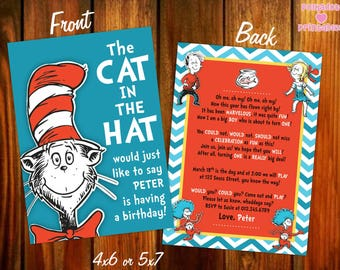 Cat in the Hat Dr. Seuss Birthday Invitation - 4x6 or 5x7 - Printable Digital File