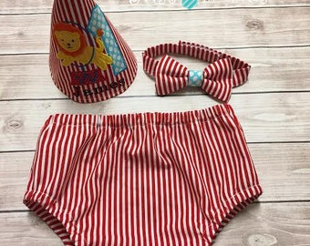 Circus Theme Baby Boy First Birthday Cake Smash Outfit Set