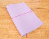Handmade Leather Traveler's Notebook, Midori style in Regular/Wide size - Lavender Lilac
